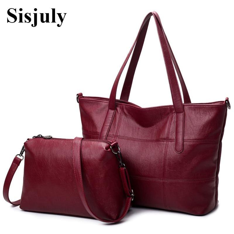 Sisjuly Big Leather Bag Women handbags Plaid Crossbody for Women Shoulder bags High Quality Tote Soft Female Messenger Bag Sac sisjuly фуксин xl