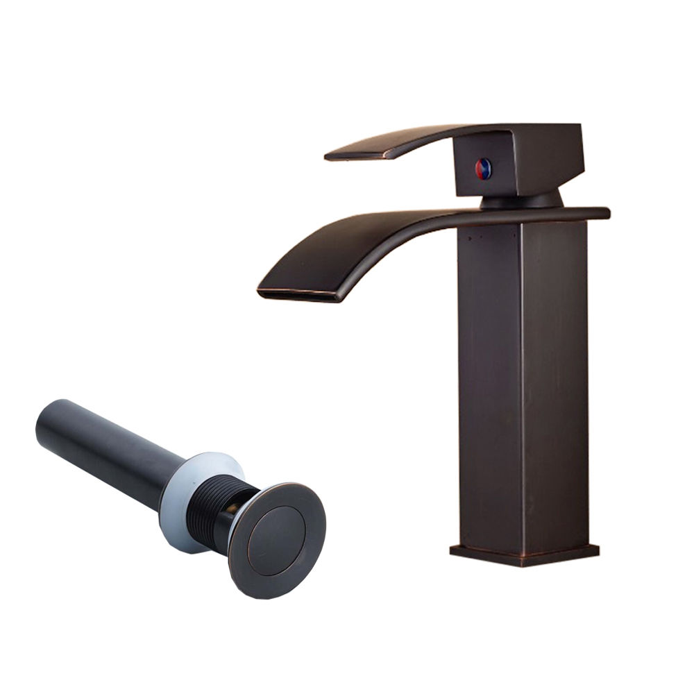 BEST Oil Rubbed Bronze Basin Faucet Deck Mounted Tub Mixer Tap Waterfall Spout Kitchen Mixer torneira with Drain