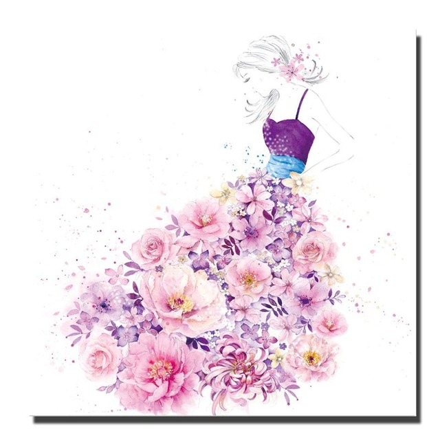 Print Watercolor Flowers Butterfly Wall Art Paintings Abstract Girl Decorative Pictures Pop Posters For