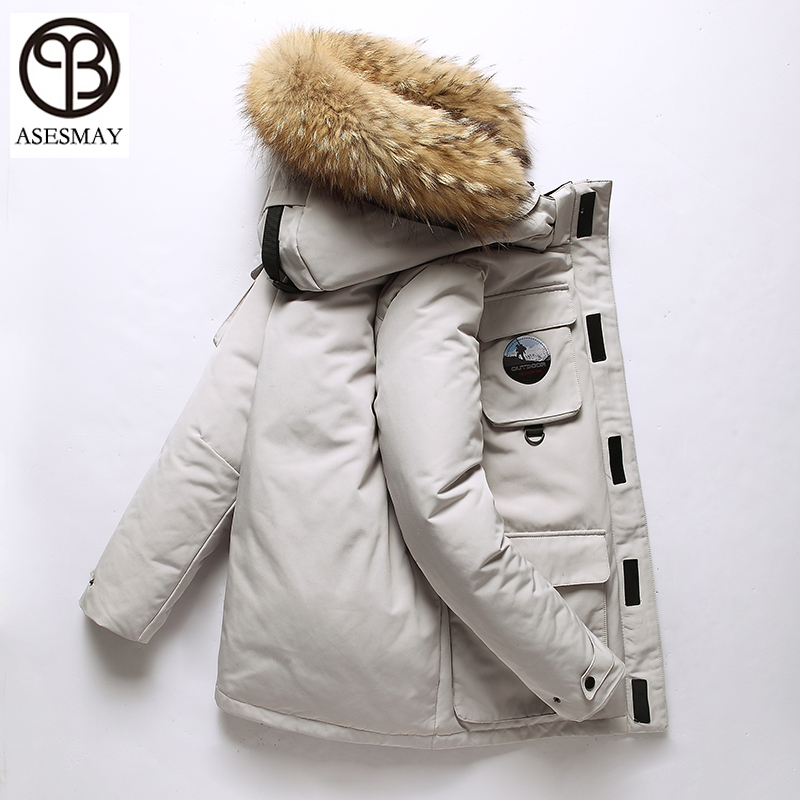 Asesmay brand 2018 men   down   jacket men's winter   coat   thickness goose feather parkas warm casual long winter jackets male   coats