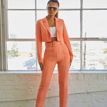 Causey  Casual Women Suits Office Sets Fluorescence Neon Green Suit 2019 Crop Top And Pant For Blazer Set