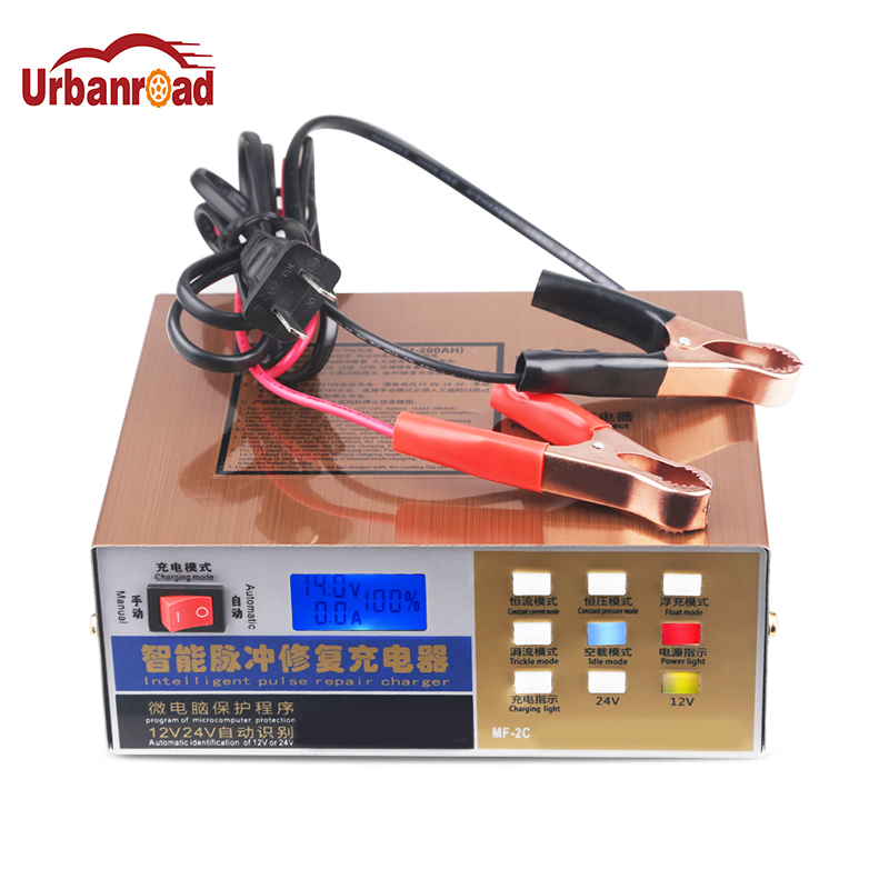 Intelligent Pulse Repair Type Car Battery Charger 12V 24V 100AH Full Automatic Electric Car Battery Charger For Car Truck Boat 350w 12v 24v 200ah portable electric car emergency charger booster intelligent pulse repair type abs lcd battery charge 2 modes