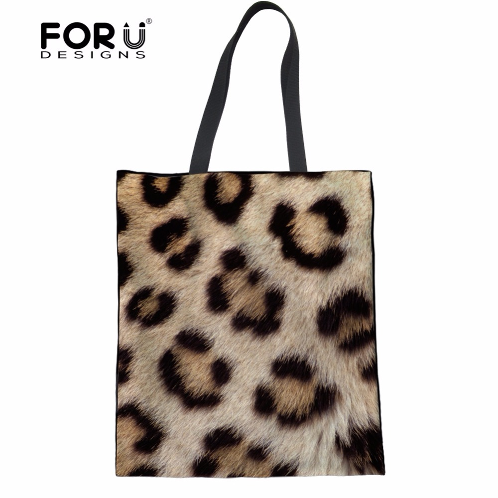 FORUDESIGNS Fashion Leopard Women s Handbags Canvas Cotton Animal Cat Print  Female Tote Shoulder Bags Large Girls 75989a1772869