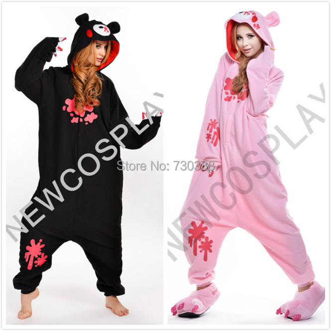 Anime Gloomy Bear Animal Black Pink Onesie for Adults Men Women Couples Cosplay Pajamas One Piece Halloween Costumes