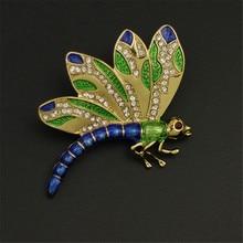 Прекрасные Капли глазури Dragonfly Брошь инкрустация полудрагоценные камни, эмаль звериного стиля Груди пряжкой Иглы аксессуары оптом
