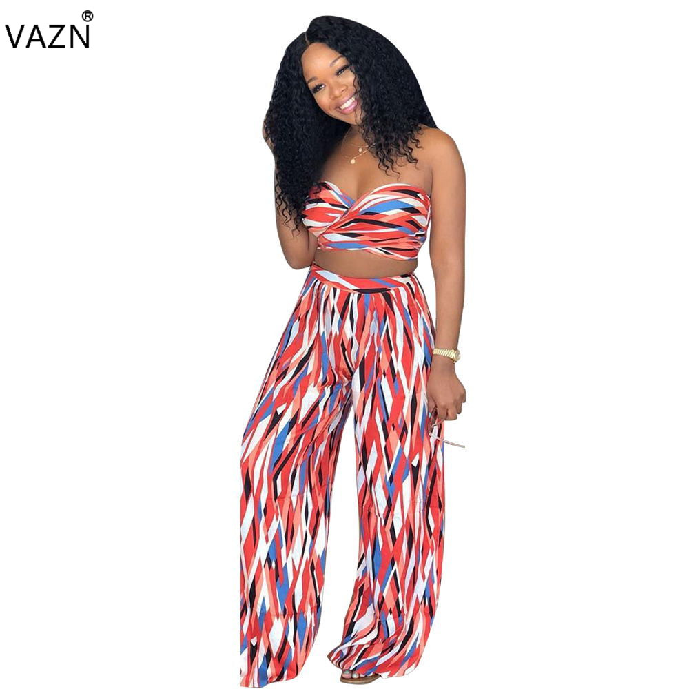 VAZN 2018 summer hot 2 pieces print jumpsuits women strapless sleeveless jumpsuits ladies backless hollow out jumpsuits LD8109
