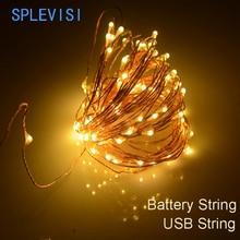 купить 3AA Battery Powered 10M 100 led LED Copper Wire Fairy String Lights for Christmas Holiday Wedding Parties Decoration по цене 77.51 рублей