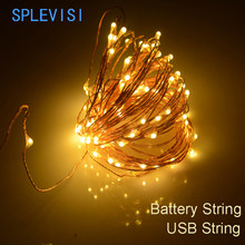 SPLEVISI 2M 3M 5M 10M usb powered /battery powered led Christmas lights copper string fairy lights garland holiday wedding decor(China)