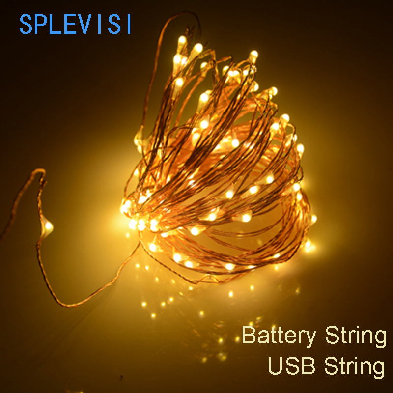 SPLEVISI 2M 3M 5M 10M usb powered /battery powered led Christmas lights copper string fairy lights garland holiday wedding decor
