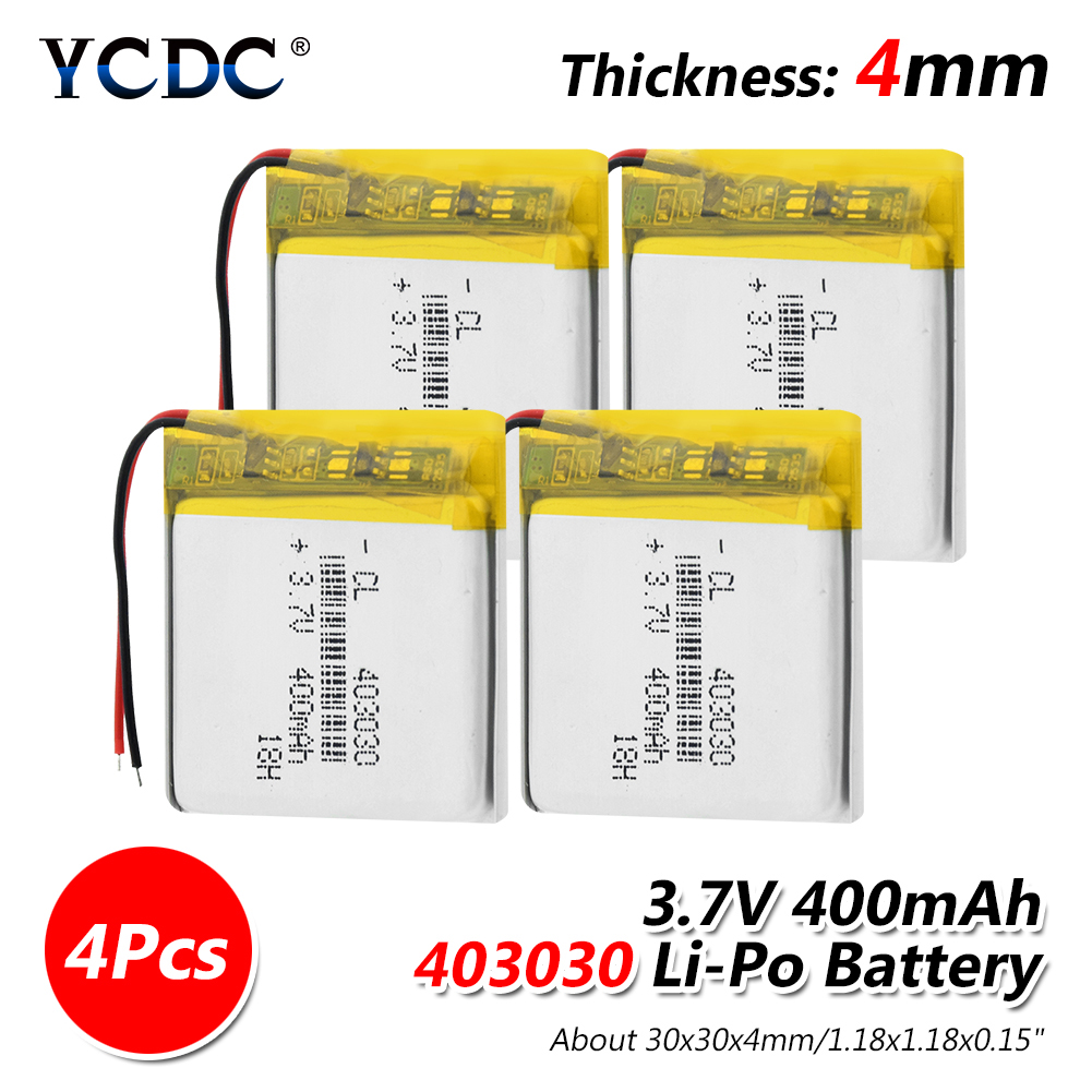 <font><b>3.7V</b></font> <font><b>400mAh</b></font> 403030 Lithium <font><b>Battery</b></font> Lithium Polymer Li-Po li ion <font><b>Battery</b></font> Lipo cells For MP3 MP4 GPS Electric Toy Smart Watch image