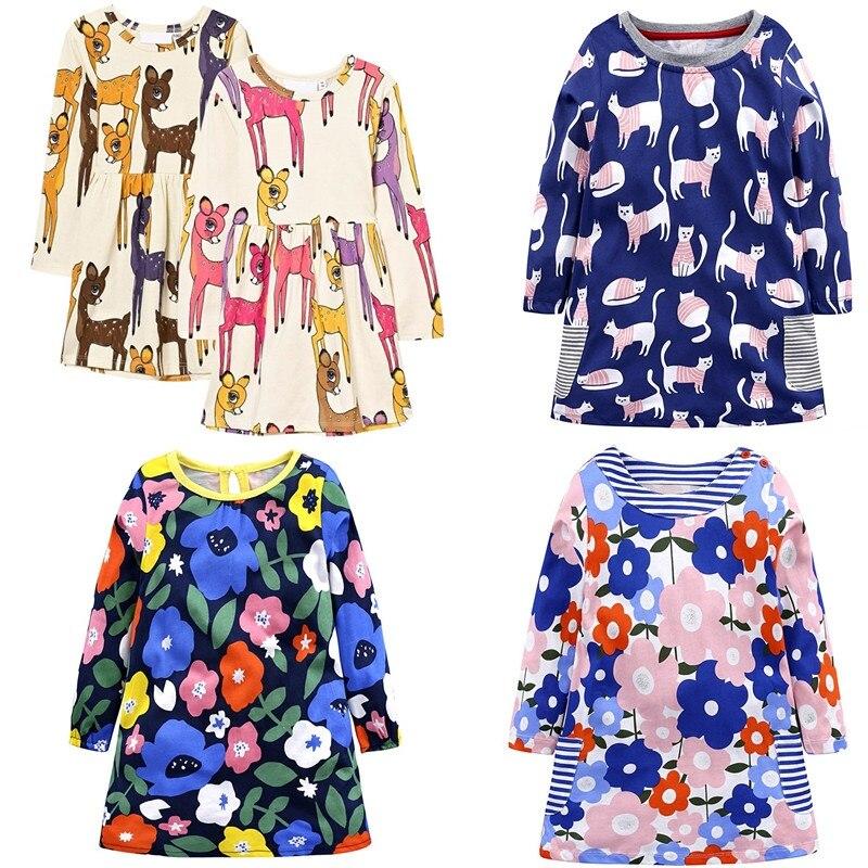 Vestidos 2018 Летнее платье для девочек 100% хлопок мультфильм олень платье принцессы Детский костюм Одежда для детей Детское платье