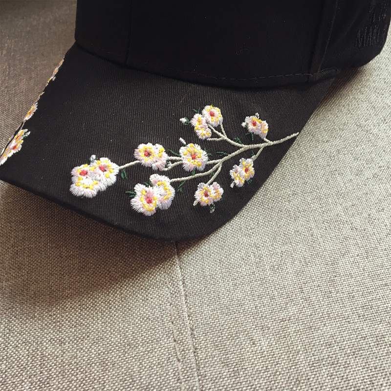 cap women black pink baseball cap women black flowers white caps womens cap women baseball caps embroidery (13)