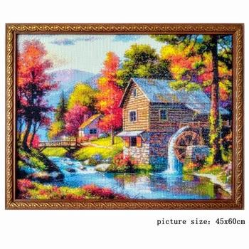 Huacan Diamond Embroidery Landscape Handmade Diamond Painting Village Needlework Mosaic Cross Stitch Home