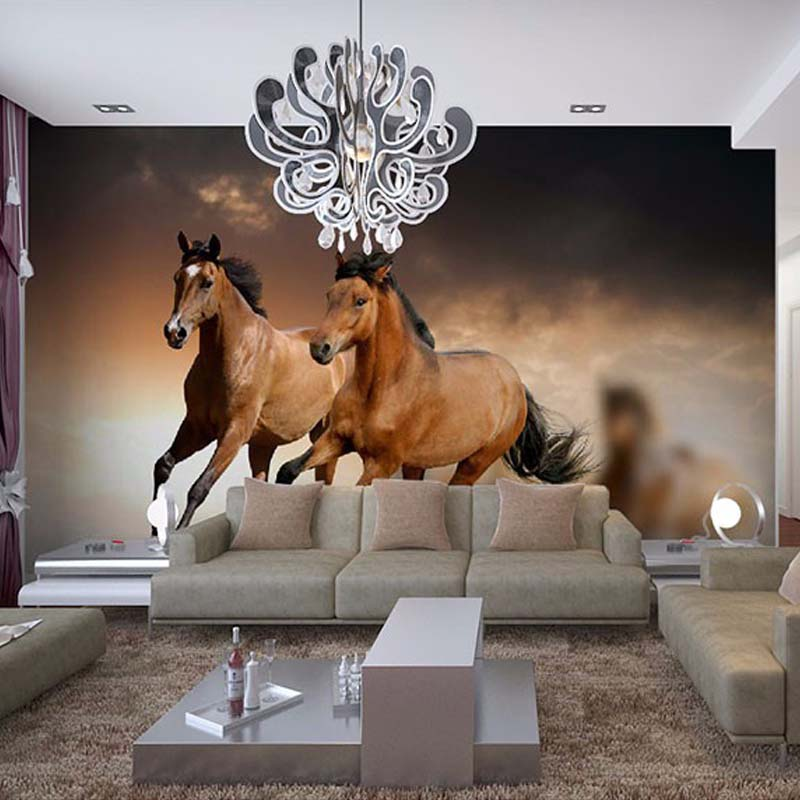 Custom any size 3d horse racing wall mural wallpaper for - Papel de pared para pintar ...