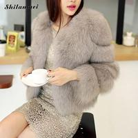 Womens Winter Coats Faux Fur 2018 Pink White Fox Fur Coat Women Fluffy Jacket Chaqueta Peluda Mujer Fausse Fourrure Casaco Pele