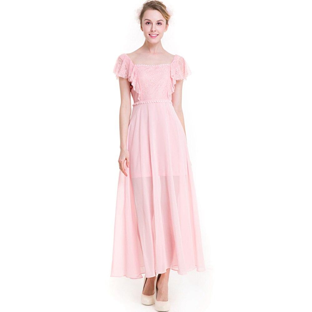 1 piece Pink Green Elegant Dress for Women 3XL Plus Size Ankle ...