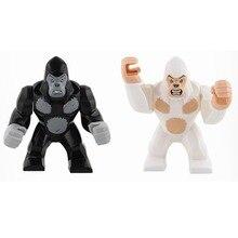 Blokowanie zwierząt bloki seria goryl figurki klocki dla dzieci montaż zabawek edukacyjne prezenty dla dzieci