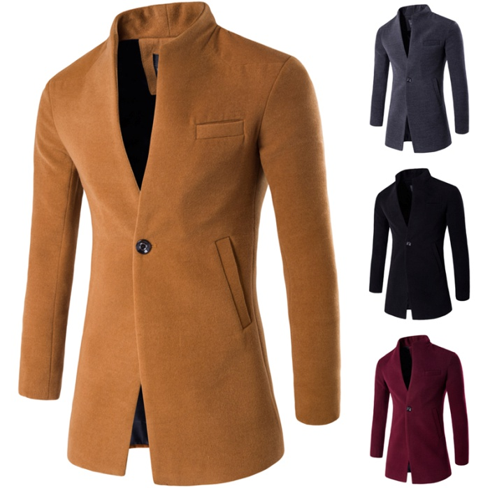 ZOGAA Winter Jacket Coats Woolen Casual Fashion Pure-Color Men's Long