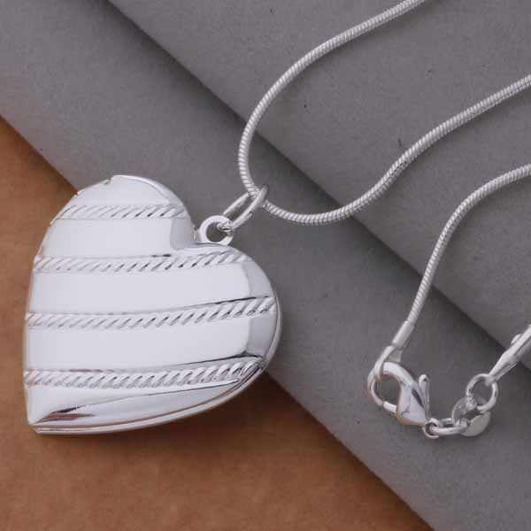 AN731 925 stearling silver Necklace 925 silver fashion jewelry pendant bevel heart /brnakiua bcjajtqa