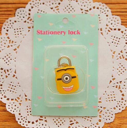 1X милый мультфильм Kawaii животные багажная сумка металлический замок журнал дневник пароль Блокировка файл держатель канцелярские принадлежности - Цвет: yellow 1 eye