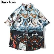 Dark Icon Full Printed Street Shirt Men 2019 Summer Turn-down Collar Hawaii Man Streetwear Clothing