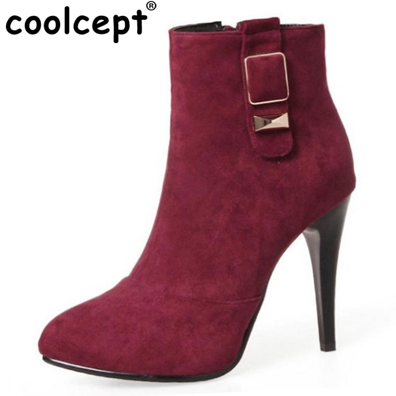 Coolcept Size 32-46 Ladies High Heel Boots Women Metal Buckle Pointed Toe Thin Heels Boot Party Dating Winter Soft Female Botas