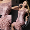 One Shoulder Short Luxruy Party Dress Sheath Sparking Sequins Dresses Feather Draping Prom Gowns Sexy Cocktail Dresses MB09