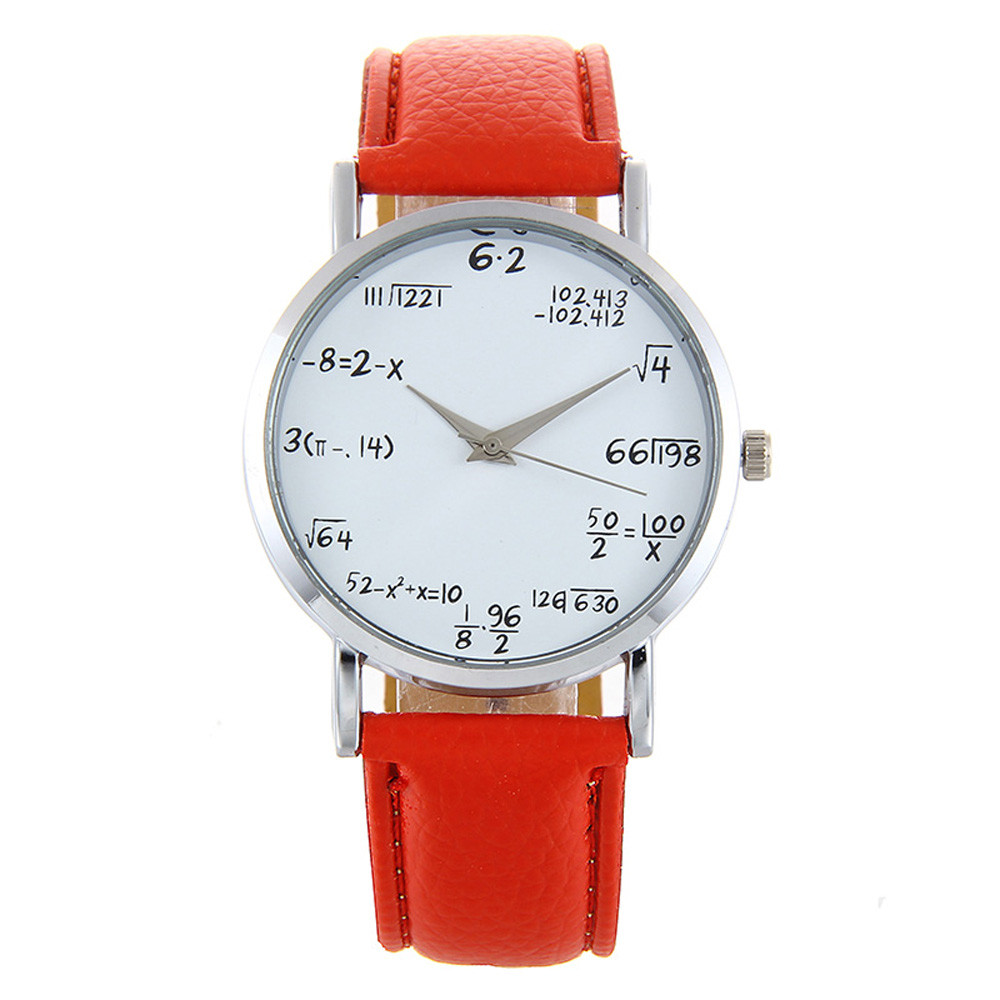 Children's watch Leather Band Mathematical formula Analog Alloy Quartz Wrist Watch girls child watches clock #S