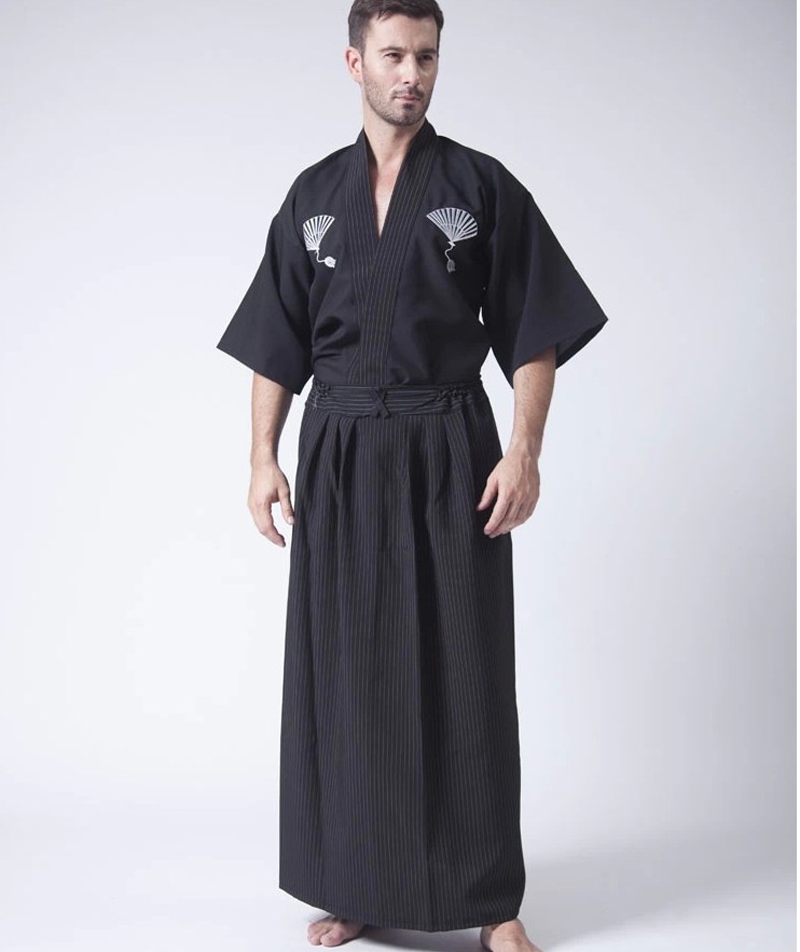 Black Classic Japanese Samurai Clothing Mens Warrior Kimono With Obi Traditional Yukata Haori Halloween Costume One