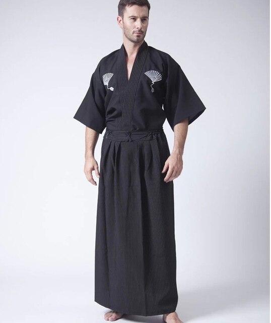Black Classic Japanese Samurai Clothing Men 39 S Warrior Kimono With Obi Traditional Yukata Haori