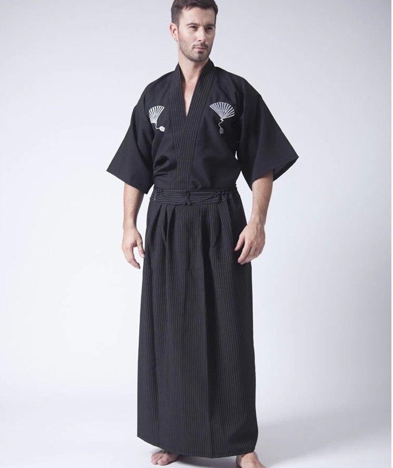 Negro clásico Samurai japonés ropa hombres Guerrero kimono con Obi tradicional yukata haori traje de Halloween un tamaño B-067