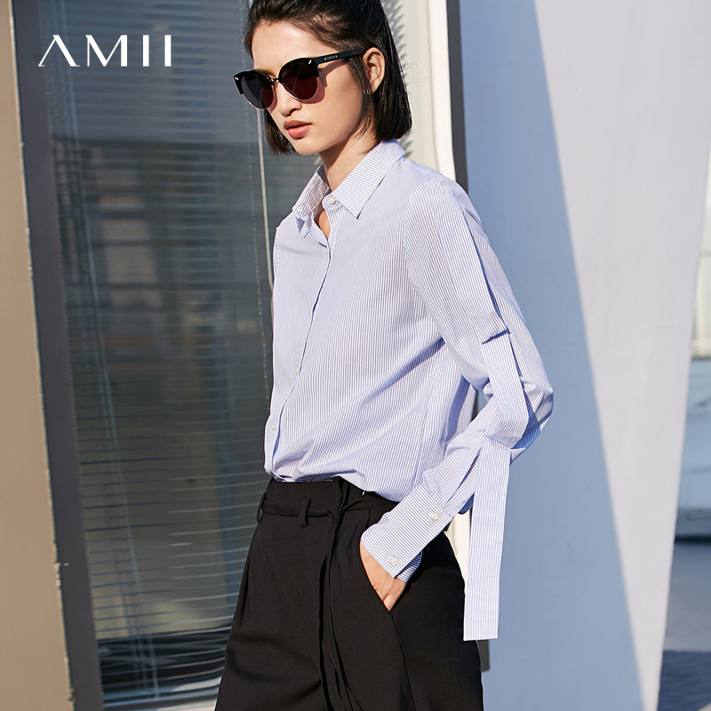 Amii Minimalist Women 2019 Spring Office Lady Blouse Stripe Straps Sleeve Female Blouses Shirts