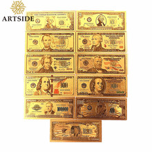 11 шт./компл. 1-1 миллион долларов США банкноты Позолоченные купюры сувенир антикварная коллекция Прямая