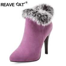 REAVE CAT Shoes Women High Heels Ankle Boots Winter Boots Fur Platform High  Heels Ladies Boots Zip White Purple Big Size 11 45 acf862140235