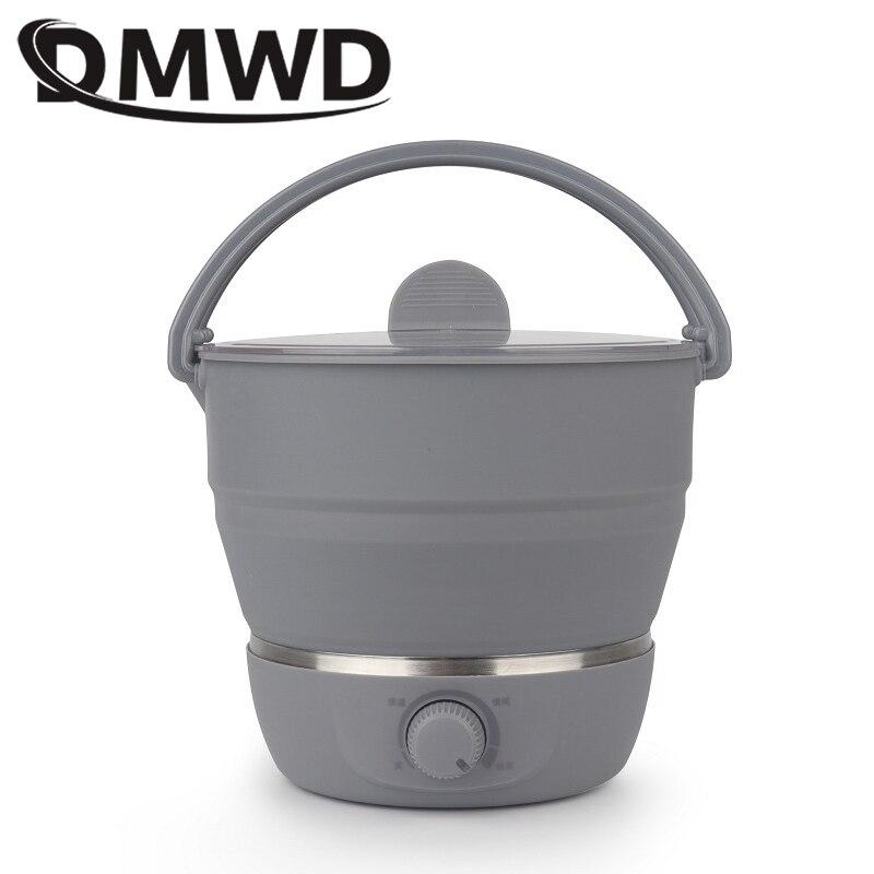 DMWD Silicone Electric Skillet Mini Hotpot Multifunction Food Cooker Foldable Egg Steamer Pan Noodles Soup Heater Pot 110V/220V
