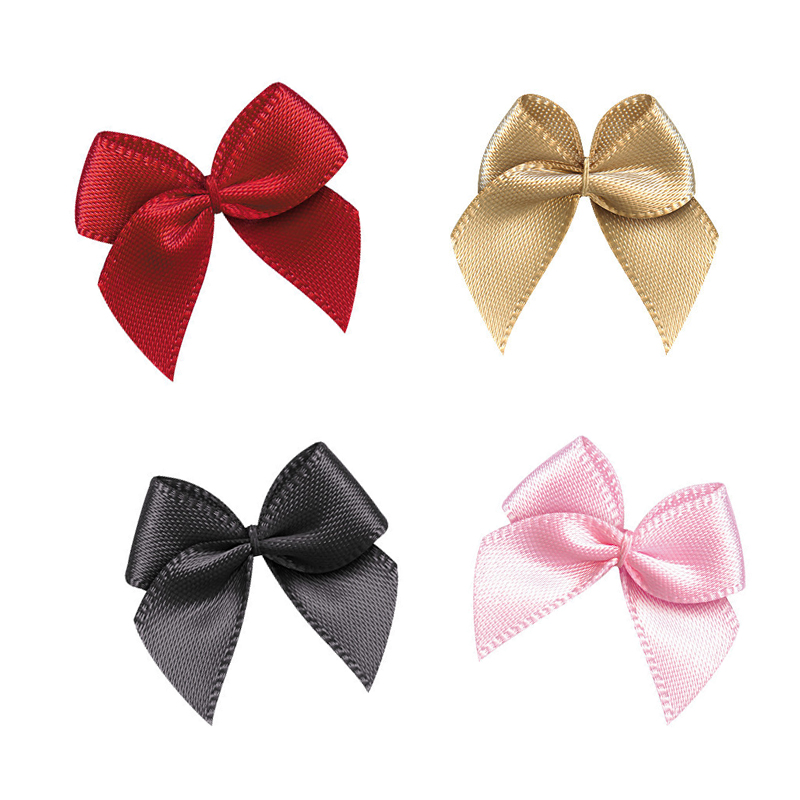 50Pcs Hand Satin Ribbon Bows DIY Craft Supplie Wedding Party Decor Gift Packing Bowknots Sewing Headwear Accessories Appliques(China)