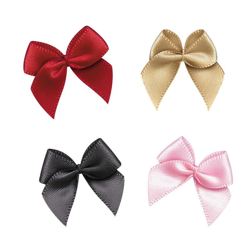 50Pcs Hand Satin Ribbon Bows DIY Craft Supplie Wedding Party Decor Gift Packing Bowknots Sewing Headwear Accessories Appliques(China)