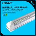 LEDVAS Super Bright 18W T8 LED Tubes 2Ft LED Integrated Tube Lights Double Strips 600mm 144led Light Lamp Bulb 2feet 60cm