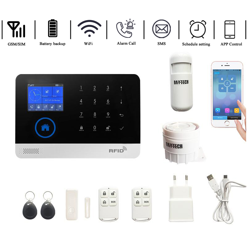 DAYTECH Wireless GSM Home Alarm System LCD Touch Screen GPRS WiFi GSM Security System RFID Motion Detector Fire Smoke Sensor