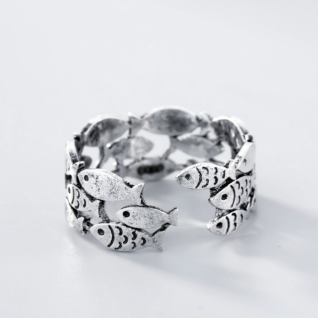 Todorova Real 925 Sterling Silver Fish Rings for Women Adjustable Wedding Ring Fashion Sterling-silver-jewelry Girls Gift