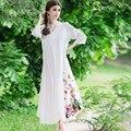 Más el tamaño de vestidos de alta calidad de algodón de lino vestidos nuevo otoño moda étnico manga larga loose women larga casual dress