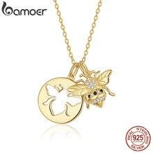 Bamoer מלכת דבורת זהב צבע תליון שרשרת לנשים 925 סטרלינג כסף שרשרת קישור שרשראות קוריאני תכשיטים BSN080