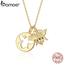 bamoer Queen Bee Gold Color Pendant Necklace for Women 925 Sterling Silver Chain Link Necklaces Korean Fashion Jewelry BSN080