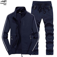 TUNSHECHY Track Suit Men 6XL 7XL 8XL Winter Autumn Two Piece Clothing Set Brand Casual Tracksuit Sportswear Sweatsuit