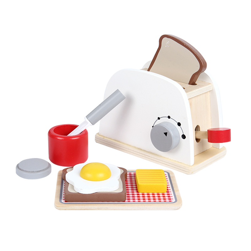 Wooden Bread Maker Pretend Play Kitchen Toy Simulation Toasters Food Set Baking Kits Game