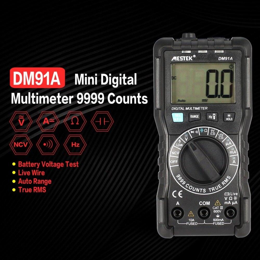 MESTEK Mini Digital Multimeter 9999 Counts True RMS Auto Range AC/DC Volt Amp Ohm Diode Continuity Capacitance Tester DM91A