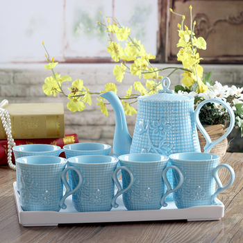Blue tea cup set Cold hot Water cups teapot kung fu teaset teacup Teaware Sets tea party coffee cups set Wedding Gift home decor