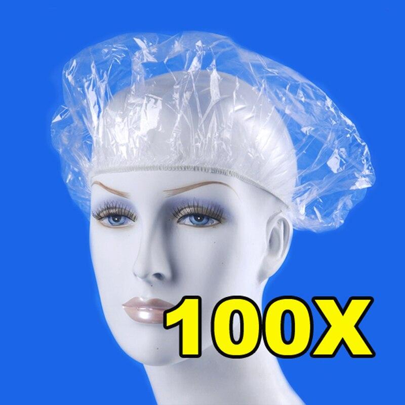 Tampas descartáveis de chuveiro 100 pçs/lote, chapéu de spa claro para salão de beleza e banho, elástico, produtos de banheiro tampas de banho