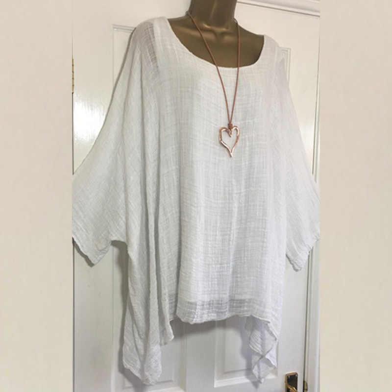 2019 Женская футболка s плюс размер 5XL футболка льняная с круглым вырезом Повседневная Свободная рубашка лето осень новая однотонная с длинным рукавом