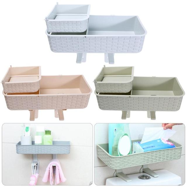 Multiuse Toilet Shelf Holder Wall Hanging Bathroom Storage Rack Suction  Wall Toilet Storage Tack Bathroom Organizer